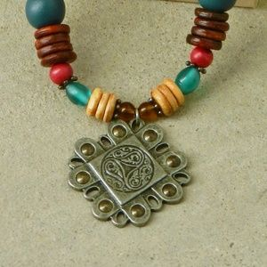 Host Pick Tribal Wood Beads Pendant Necklace